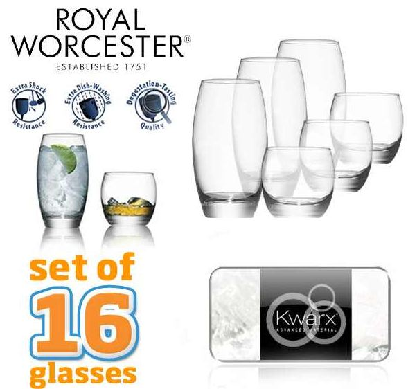 [iBOOD] Kwarx Design: 16 Royal Worcester Gläsern inkl. Versand 35,90€