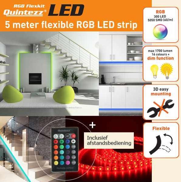 [iBOOD] 5 m LED RGB Flexkit: Quintezz mit Fernbedienung inkl. Versand 55,90€