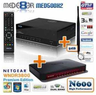[iBOOD] Full HD Media Player: Mede8er MED500X2 + 5dB W Lan Antenne, Gigabit LAN, USB3.0, Netgear Gigabit Router inkl. Versand 205,90€