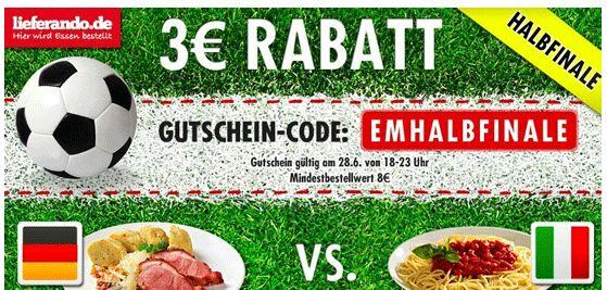 [Halbfinale] Lieferando: 3€ Gutschein für Bestandskunden (8€ MBW) 7€ Gutschein für Neukunden (7,01€ MBW)