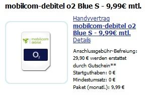 o2 Blue S mit o2 Flat, Festnetzflat, Internetflat, 100 Minuten & 100 SMS nur 9,99€/Monat effektiv