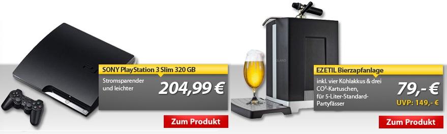 OHA Deals: PS3 Slim 320GB für 205€ & Ezetil Bierzapfanlage für 79€