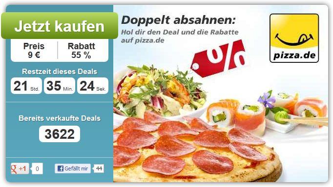 [*UPDATE*] Pizza.de: 9€ Gutschein im Wert von 20€ für Neu u. Bestandskunden!