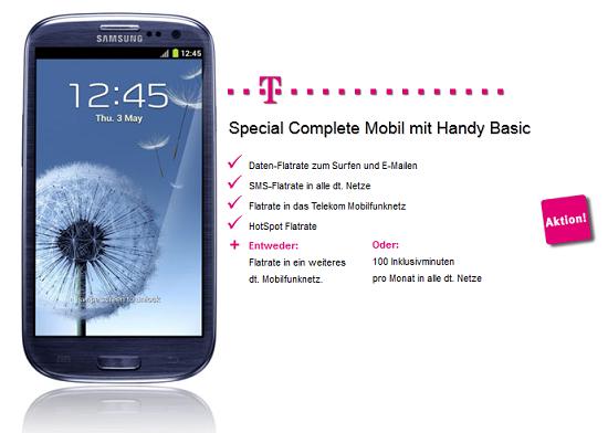 [UPDATE] Samsung Galaxy S3 für 19€ mit T Mobile Vertrag (Internet , SMS , T Mobile, Hot Spot Flat) für 34,95€ monatlich