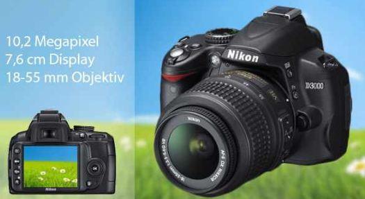 [real, ] Nur Morgen! SLR Kamera: Nikon D3000  + 18 55mm VR Objektiv, vor Ort 325€!