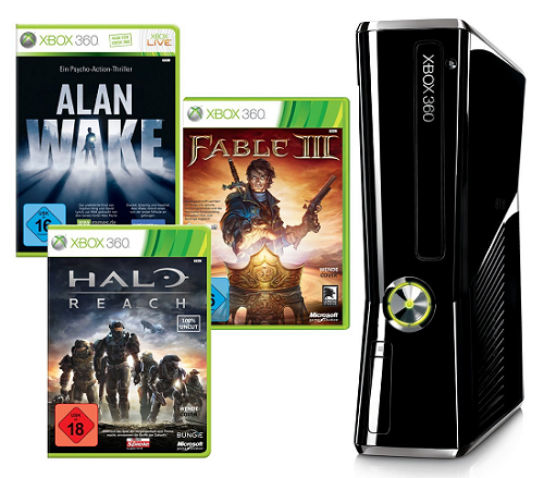 [Amazon WHD] Xbox 360 S 250GB + Halo Reach + Fable III + Alan Wake ab 191,81€ inkl. Versand