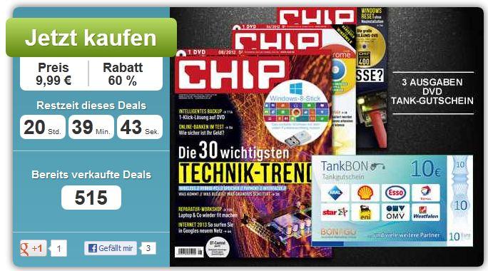 [DailyDeal] Gutschein: 3 Ausgaben Chip für effektiv 1Cent Gewinn, im Wert von 24,97€