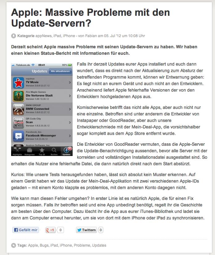 [Wichtig!   In eigener Sache!] App Update Problem!