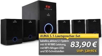 5.1 wireless Lautsprecher Set Auna für 83,90€ inkl. Lieferung (statt 100€)