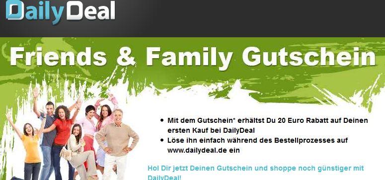 [DailyDeal] Hot! Kostenlos: 20€ Dailydeal Neukunden Gutschein (40€ MBW)!