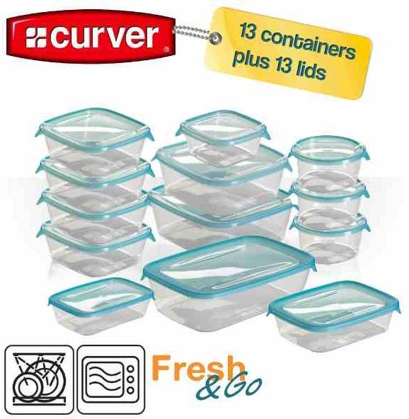 Curver Set 13 Frischhaltedosen Fresh & Go, mit luftdichtem Verschluss für inkl. Versand 20,90€