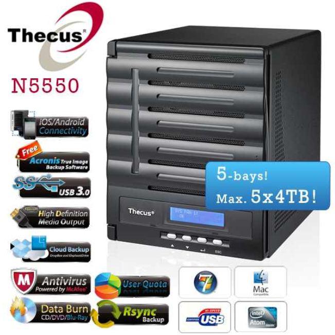 Thecus N5550   Home / Büro Datensicherungs NAServer für 328,90€