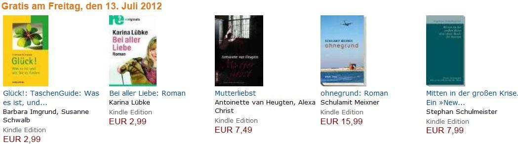 [Amazon] Kindle: Nur Heute, 5 Bücher im Wert von 34,50€ kostenlos im Download!