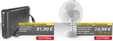 [MeinPaket] 2 TB externe 3,5 USB 3.0 Festplatte für 91,90€ und Tischventilator für 14,99€