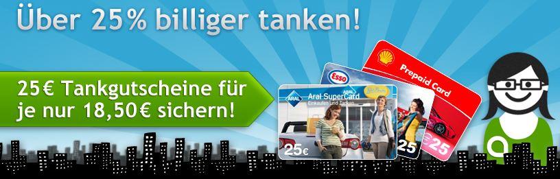[Quicker] 25€ Tank Gutschein: für 18,50€ (Aral, Esso, Shell)