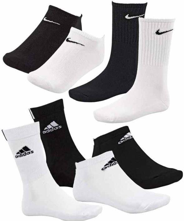 [ebay Wow] 9er Pack Sneaker Socken: Adidas oder Nike, 15 Kombinationen, (Gr. 39 42 43 46) inkl. Versand 19,99€
