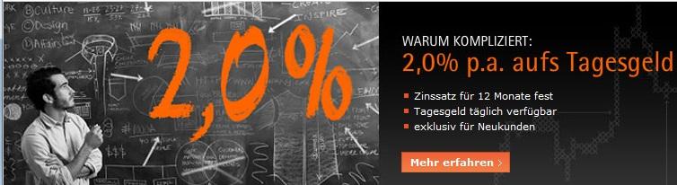 [Update] Tagesgeld: 2,0% Zinsen fest für 12 Monate bei Cortal Consers
