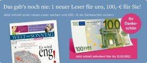 [Abo] Update: Welt am Sonntag oder Kompakt   Jahresabo nur 30€ statt 130€!