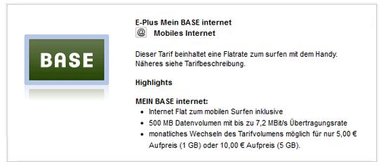 [24mobile] Mein BASE Internetflat mit 500MB für effektiv 0€