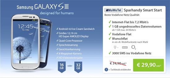 [sparhandy] Samsung Galaxy S3 ab 59€ mit Vodafone Vertrag inkl. 1GB/Monat Datenflat für 29,90€/Monat