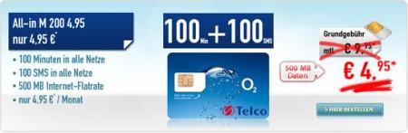 [Wieder da] Günstiger Vertrag! Telco All in M o2 (100 Freimin. + 100 SMS + Inet flat) nur 4,95€/Monat!