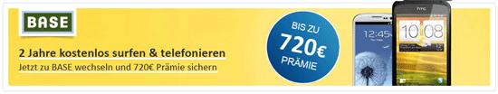 Kostenloser Base All In oder selection Vetrag durch Cashback + optional Samsung Galaxy S3 für 383,95€