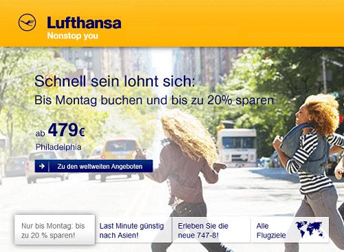 [Lufthansa] 20% auf ausgewählte Interkontinentalflüge hin und zurück