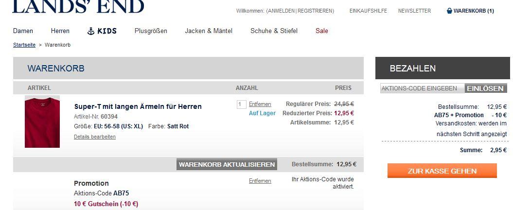Update [Lands´End] Knaller – wieder da: 10€ Gutschein, ohne MBW bei nur 3,95€ Versand (Versandkostenfrei ab 10€)!