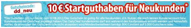 [DailyDeal] Kostenlos: 10€ Dailydeal Neukunden Gutschein (30€ MBW)!