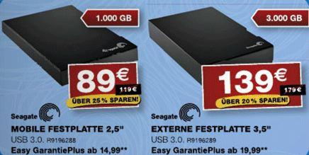[staples] externe USB 3.0 Festplatten: Seagate 1TB 2,5″ nur 74€ oder 3TB 3,5″ nur 124€