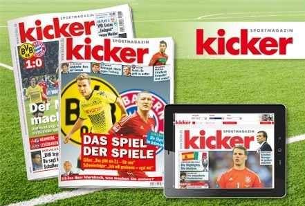 [Groupon] Gutschein: 3 Monate das kicker Sportmagazin als Print Ausgabe oder e Paper für 19,50€ statt 47,40€