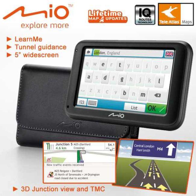 [iBOOD] 12,7cm Navi: Mio Moov M616 LM mit TMC, lebenslangen Kartenupdates und Tasche inkl. Versand 125,90€
