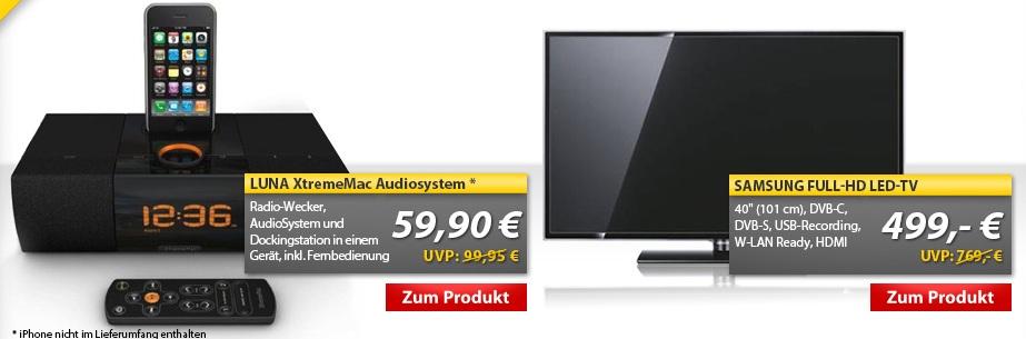 OHA Deals! LUNA XtremeMac Audiodock für 59,90€ & Samsung UE40ES5700 40 TV für 499€