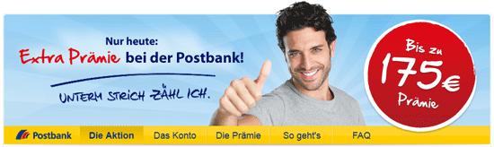 [HGWG] Postbank: Girokonto mit bis zu 175€ Prämie