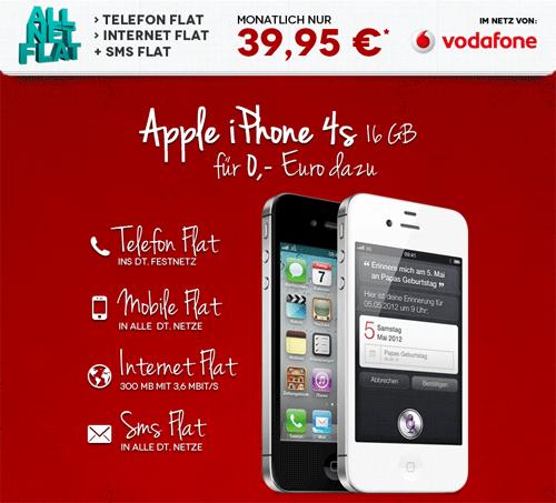 [Ashop] iPhone 4s mit Allnet Flat für monatlich 39,95€