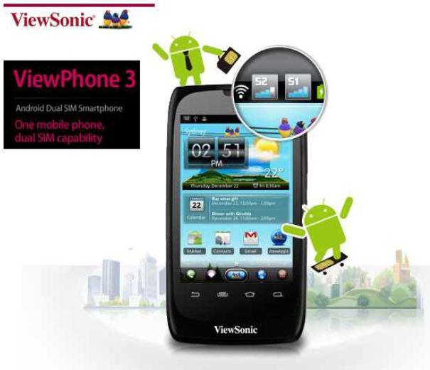 [iBOOD] Android Smartphone: ViewSonic, ViewPhone 3 mit Dual Sim, 5 MP Kamera, GPS, inkl. Versand 105,90€