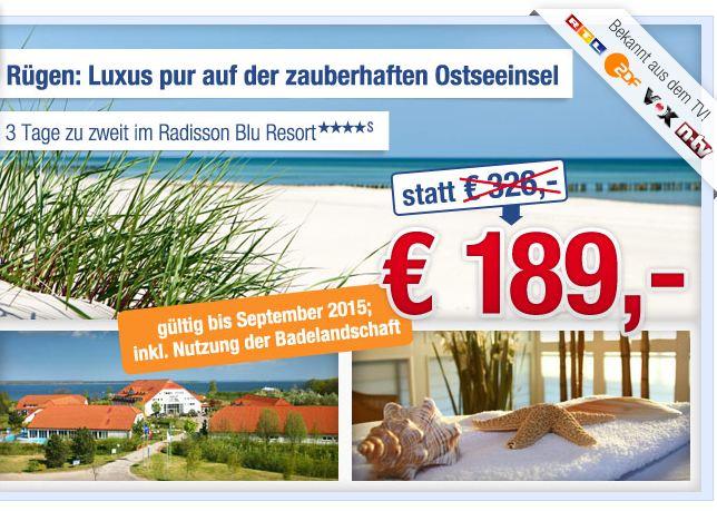 [ab in den urlaub] Hotelgutschein: 2 Personen, 2 Übernachtungen im 4* Radisson Blu Ressort auf Rügen für nur 189€ (Wert 326€)