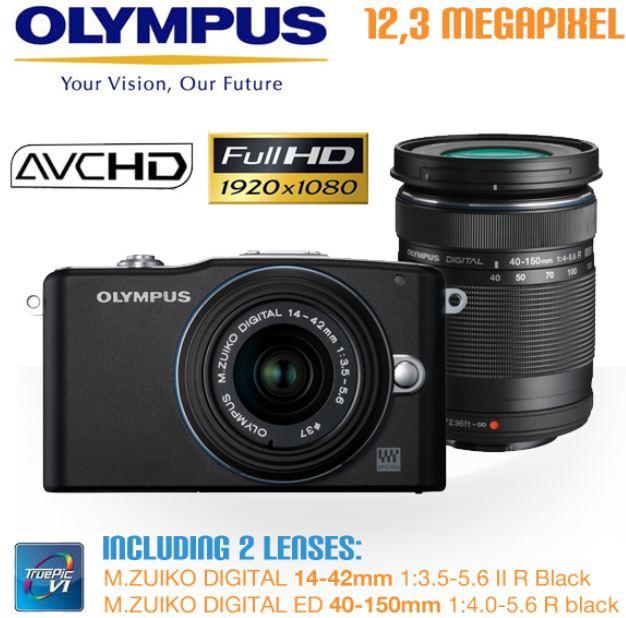 [iBOOD] 12.3MP Digital Kamera: Olympus E PM1 mit M.Zuiko Digital 14 42mm und 40 150mm Objektiv, inkl. Versand 385,90€