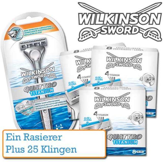 [iBOOD] 25 Klingen und Rasierer: Wilkinson Sword Quattro Titanium, inkl. Versand 45,90€
