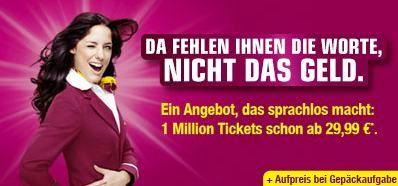 [Germanwings!] Wieder da: 1 Millionen Flüge für 29,99€ inklusive Gebühren (ohne Gepäck)!