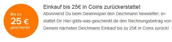 [HGWG] Neue Aktion: beim Deichmann Newsletter anmelden und 25€ in Coins als Cashback abgreifen!