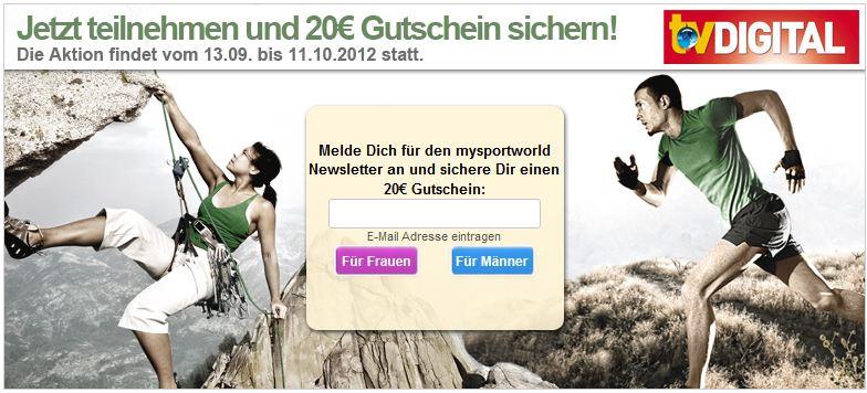[mysportworld] Update: 20€ Gutschein ohne MBW und Versandkosten!