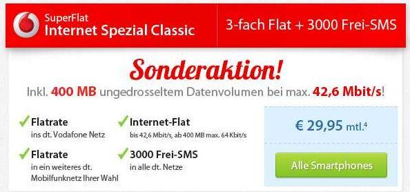 [Sparhandy] Samsung S3 für 1€ + Vodafone Superflat Internet Spezial (4 fach Flat) für 29,90€/monatl.