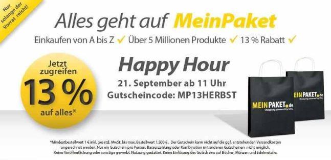 [MeinPaket] Neuer 13% Gutscheincode (MBW: 50€)