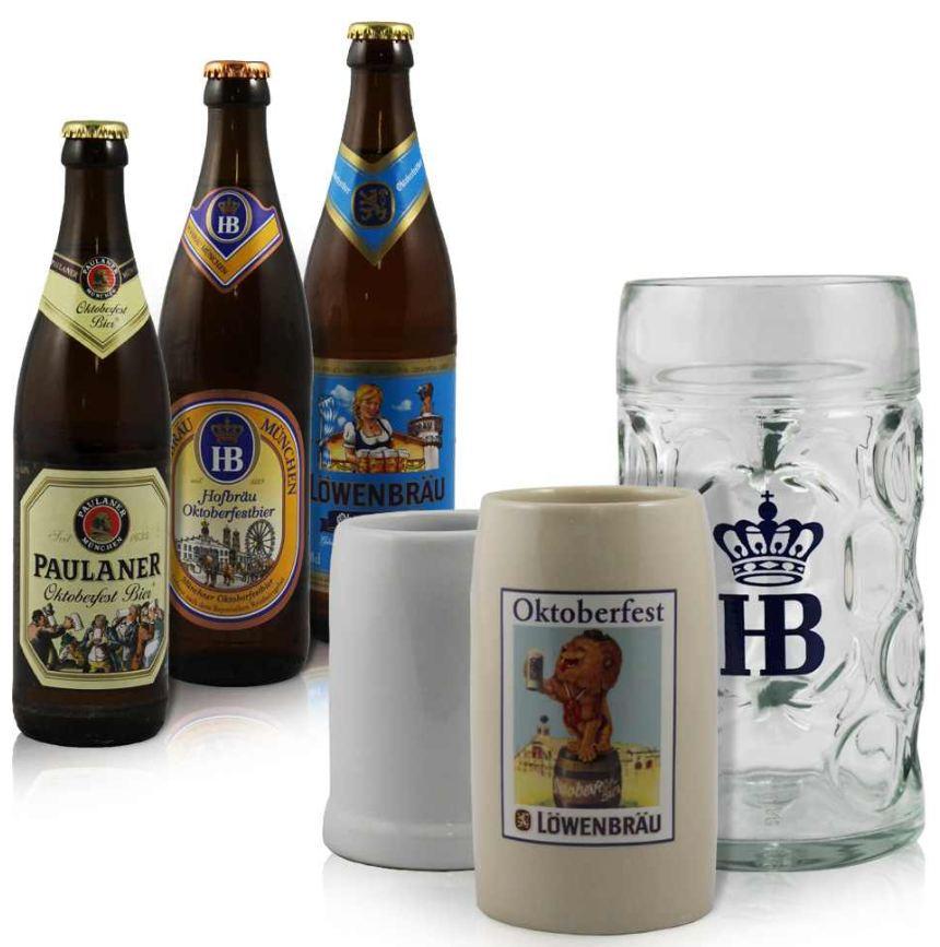 [ebay Wow] Oktoberfest: 12 Flaschen Münchner Oktoberfest Bier (Paulaner, Löwenbräu, HB) inkl. verschiedene Krüge und Versand nur 14,99€!