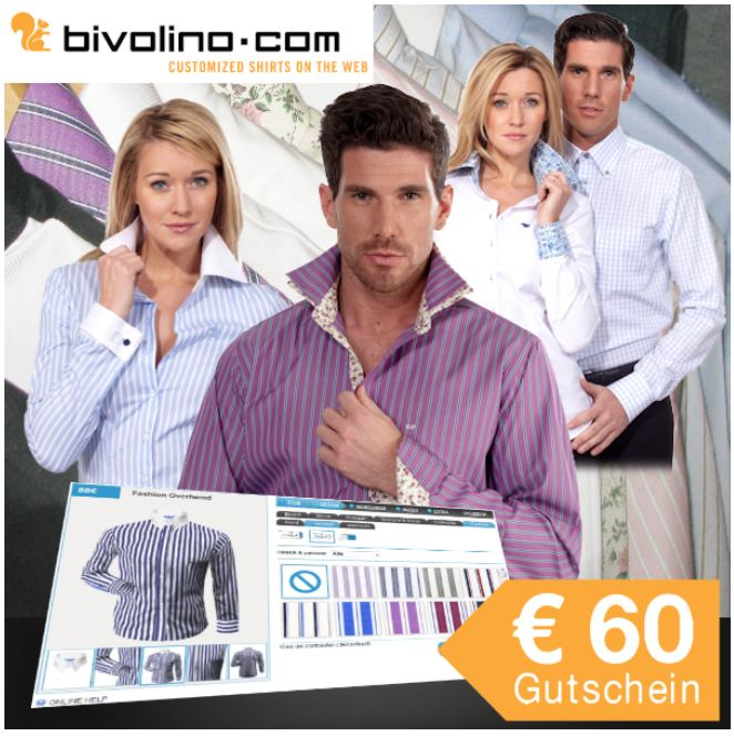 [iBOOD] 29,95€ Gutschein Wert 60€: für selbst designtes Maßhemd / Maßbluse von Bivolino!