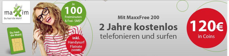 [hgwg] Maxxim: 100Freiminuten + 100SMS + 500MB monatlich fast kostenlos dank Cashback!