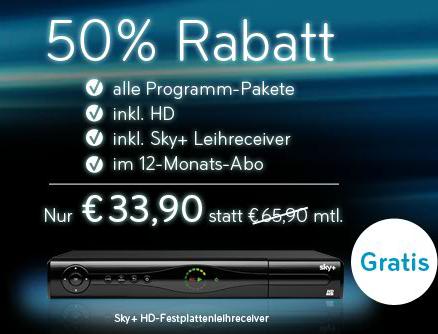 Sky Komplett inkl. Sky HD, alle Sender, Sky Go & Festplattenreceiver nur 33,90€/Monat