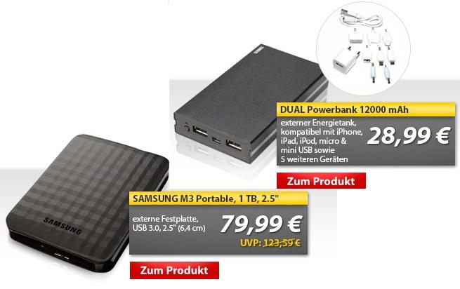 OHA Deals! (Samsung M3 1TB Festplatte & Dual Power Bank 12000 mAh externer Akku)