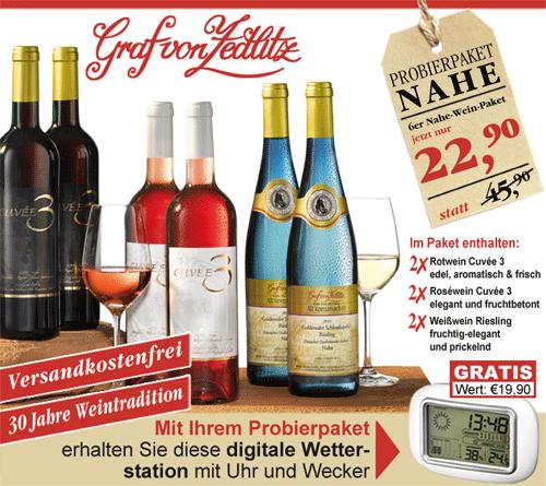 [Tipp] Nahe Wein Paket: 6 Flaschen Wein + Wetterstation für 22,90€ inkl. Versand